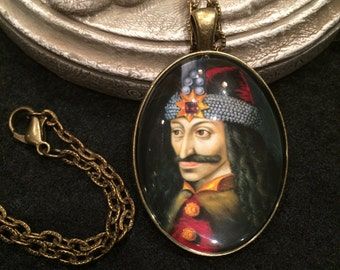 Vlad the Impaler Bronze or Silver Pendant Necklace Gothic Dracula Vampire Medieval Warrior