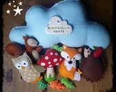 Woodland Baby Mobile, Nursery Decor, Baby Shower Gift, Woodland Animals Theme Nursery, Baby Mobile
