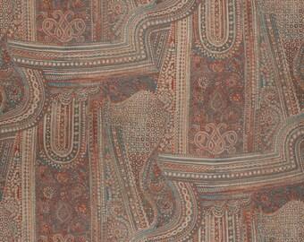VERVAIN ETHNIC CHIC Jaya Linen Print  Fabric 5 Yards Mediterranean
