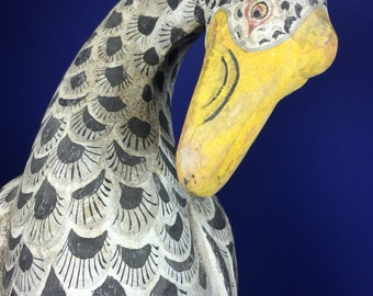 Folk Art Carved Bird / Handpainted