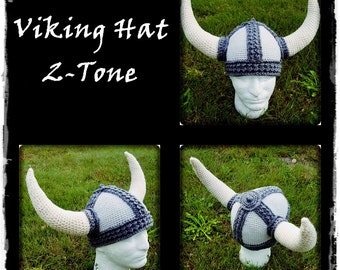 Crocheted Viking Hat 2-Tone