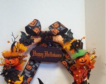 Pumpkin witches Halloween wreath
