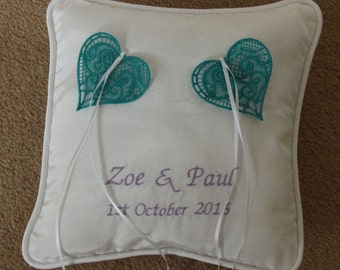 Wedding ring pillow with hearts or butterflies customised