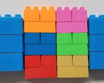 Brick Erasers and Sharpeners - 24 Pieces, Connects & Stacks Just Like Famous Building Blocks