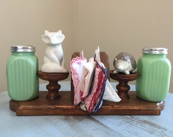 Vintage Handmade Kitchen Caddy, Napkin Holder, Wood and Felt