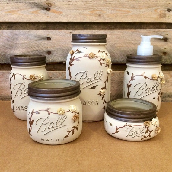 Mason jar desk set mason jar bathroom set mason jar office for Bathroom decor mason jars