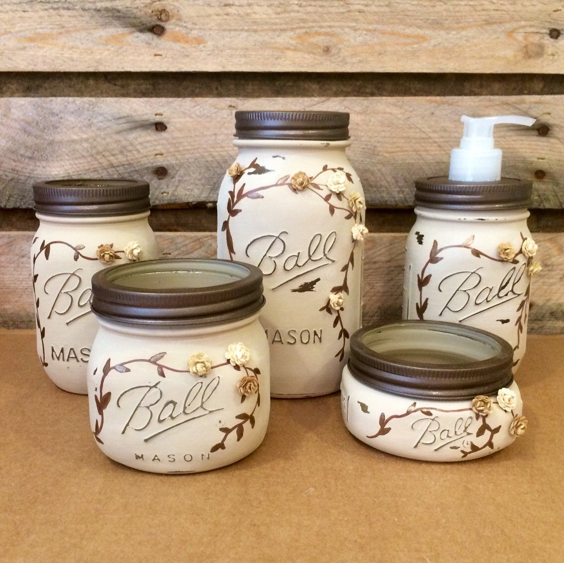 Mason jar desk set mason jar bathroom set mason jar office for Small bathroom jars