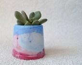 Little, Colourful Concrete Vessel/Plant Pot