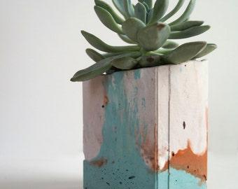Turquoise and Copper Concrete Square Vessel