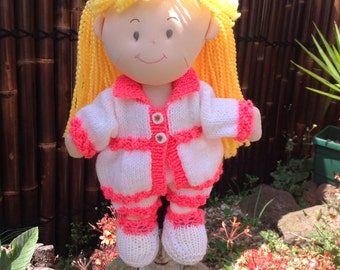 Rag doll new with hand knitted set in neon shade.