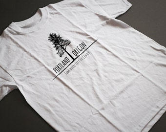 Portland Left of Center Natural Hemp T Shirt Oregon Spirit