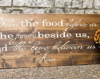 Bless the food before us; Rustic Wood Sign; Prayer; Farmhouse Dining Room Sign