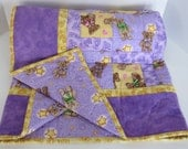 Boyd's Collection Teddy Bear Baby Girl Quilt, Purple and Yellow, Nursery Quilt, Baby Blanket, Toddler Quilt, Baby Shower Gift, Baby Blanket