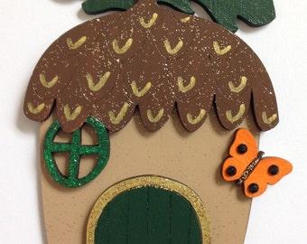 Acorn Fairy Door with Butterfly