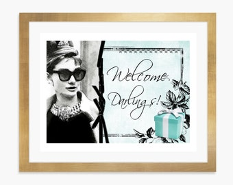 """Bridal Shower Welcome Sign, Breakfast At Tiffanys Welcome Darlings Sign, Instant Download Bridal Shower Welcome Sign, 5"""" x 7"""" signage"""