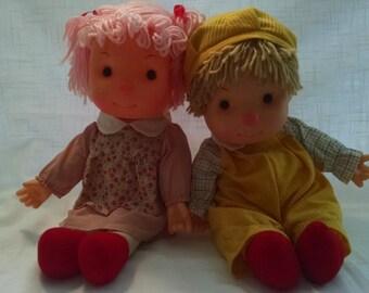 Vintage 1980's Astra Pair of Komfy Kids Dolls