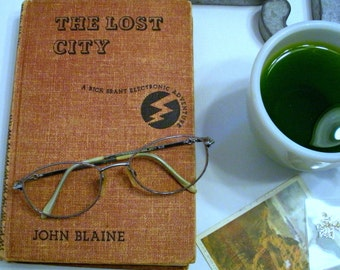 Vintage Book - The Lost City by John Blaine - Vintage Brown Book - Old Book