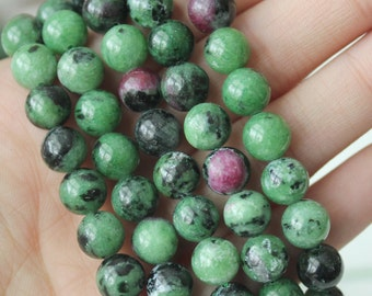 8mm Ruby Zoisite AA Grade Round Beads Jewelry Supply Green Beads Speckled Gemstone GS035