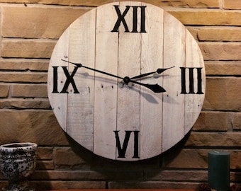 White Washed Pallet Clock