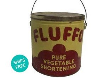 FReE Shipping USA Fluffo Canister Vintage 1940 40s canister cans tins collectible containers VintageCrockpot