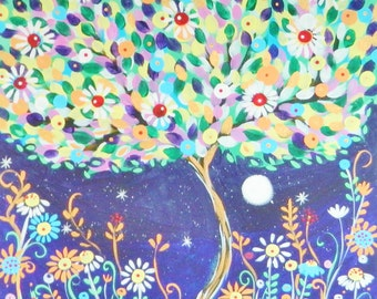 Painting on canvas titled Bloom by Claire Barone,flower art,whimsical,original painting,tree painting