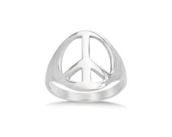 SALE Sterling silver peace symbol ring SALE