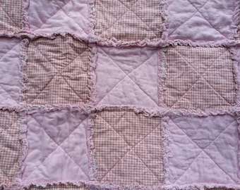 Pink Rag Quilt Baby Blanket
