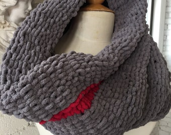 Hand Knit Huge Cowl Gray