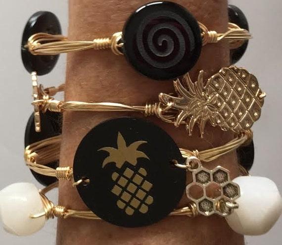 Pineapple Bangle Bracelet, black and gold bangle, Wire wrapped bangle bracelet