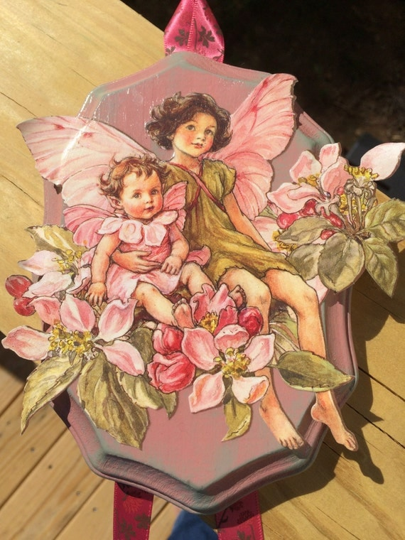 Little Girl Fairies Wooden Plaque, Pink and Green Dresses, Floral