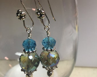 Earrings, faceted crystal drop earrings, blue crystal faceted bead earrings