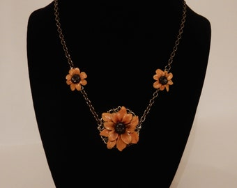 Handmade polymer clay Sunflower necklace