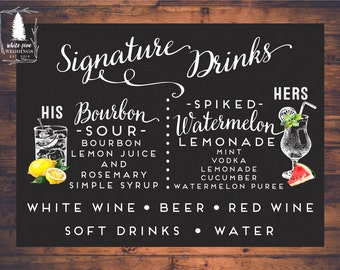 PRINTABLE Signature Drinks sign, Wedding Drink Sign, Wedding Bar Menu, Bar sign, Bar Menu, Wedding Bar sign, Engagement, Bridal Shower