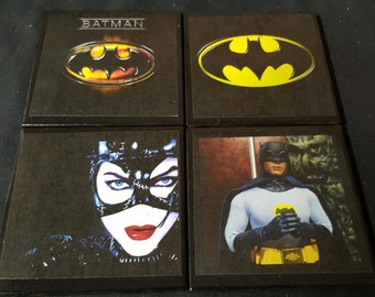 Batman Ceramic Tile Drink Coasters / Set of 4 / Batman Drink Coaster Set