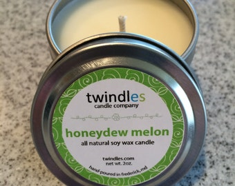 Honeydew Melon // All Natural Soy Tin Candle // 2oz Candle// Handcrafted Soy Candle // Wedding Favor Candles // Party Favor