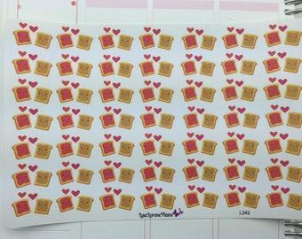 Peanut Butter Jelly Time Planner Stickers   PB&J Date Night    L242