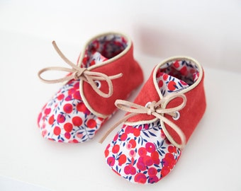 """Small 3-6 months baby shoes soft leather and liberty """"Frances"""""""