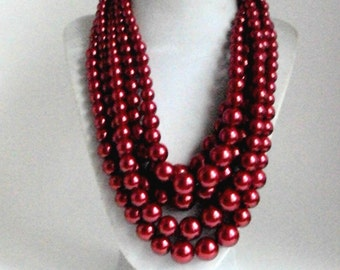 Chunky Red Pearl Necklace, Layered Red Pearl Statement Necklace