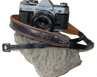 Completely Hand Made Leather Camera Carrying Strap with Ring Attachment