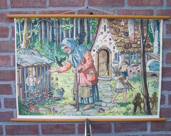 Vintage  Pull Down Chart  Fairy tale Hansel and Gretel School Chart
