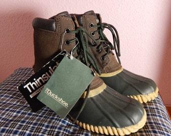 Vintage Duck Boots NOS The Duckshoe US Size 5 - 5.5 Leather Boots 90s