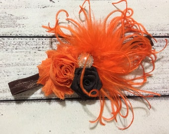 Fall Baby Headband Vintage Baby Headband Thanksgiving Baby Headband Flowers Baby Headband Fall Headband Baby Headband Orange /Brown Headband