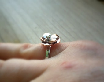 Flower Ring, Copper and Silver Flower Ring, Mixed Metal Ring, Silver Ring, Copper Ring, Handmade Ring, Women's Ring, Copper Flower Ring,