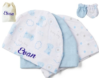 3x Personalized beanie hat Baby Newborn infant with 2 pairs of mittens - infant cap - newborn hat - Baby boy gift - Set baby gift  - blue