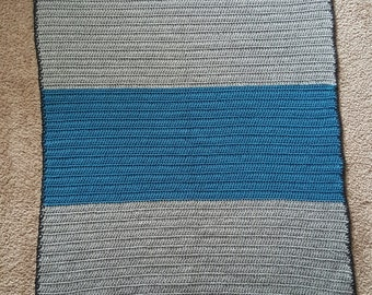 Blue and Gray Crochet Baby Blanket