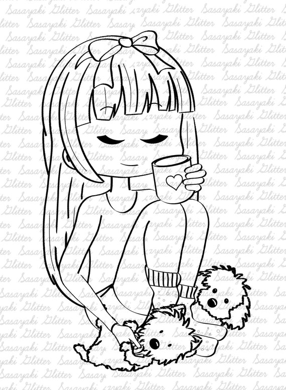 Amy's Pups Digital stamp by Sasayaki Glitter - Line art only