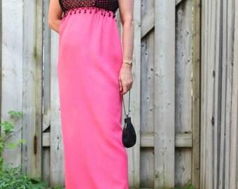 "1960s Evening Dress - Vintage Pink Black Sequin Midi Cocktail Dress - S/M 31"" Waist - Beaded Empire Waist - Sleeveless - Statement Dress"