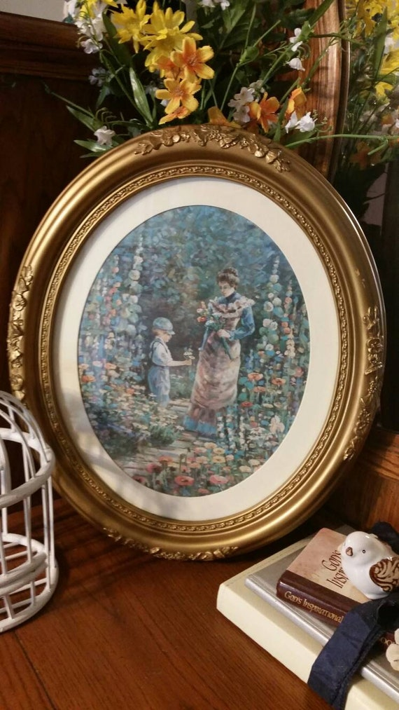 Interio Esstisch Oval ~ Vintage Early 1990s Home Interior Oval Picture Victorian