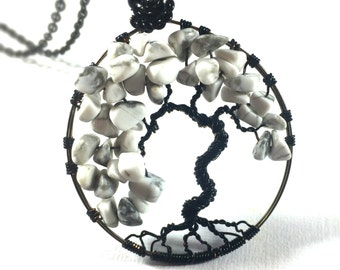 Black and White Bonsai Necklace, Black Tree of Life, Tree of Life Pendant, Wire Wrapped Tree of Life Necklace, Howlite Bonsai Necklace