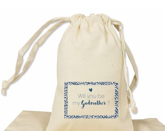 Will you be my Godmother gift bag cotton favor bag